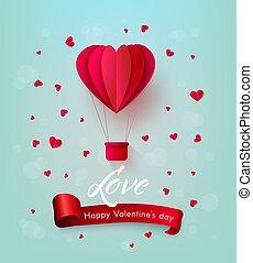 szív, balloon, valentines, levegő, csípős, vektor, nap, boldog