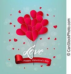 szív, balloon, valentines, levegő, vektor, nap, boldog