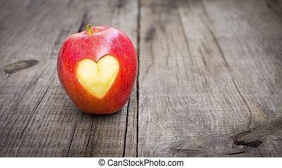szív, bevésett, alma