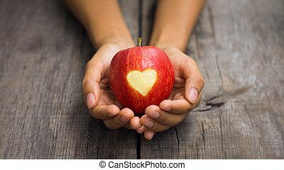 szív, bevésett, alma, piros