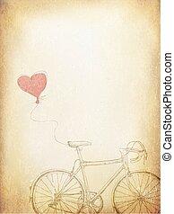 szív, bicikli, szüret, valentines, ábra, vektor, sablon, idős, baloon.