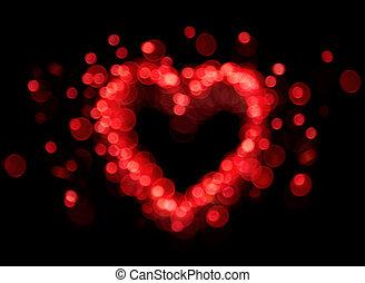 szív, bokeh, alakít, piros