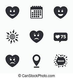 szív, boldog, bús, icons., arc, cry., mosoly