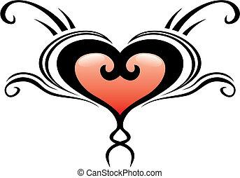 szív, címer, tetovál
