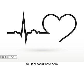 szív, cycle., orvosi, cardiogram., beat., szív, icon.
