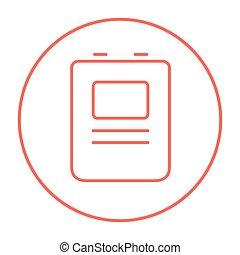 szív, defibrillator, egyenes, icon.