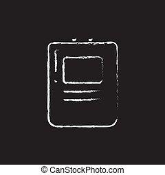 szív, defibrillator, ikon, húzott, alatt, chalk.