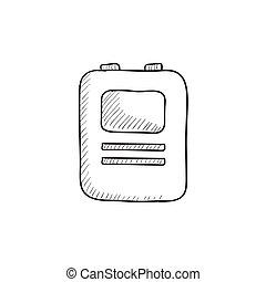 szív, defibrillator, skicc, icon.