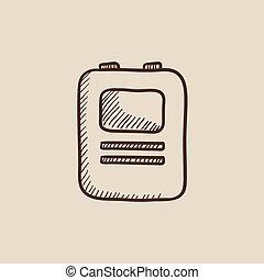 szív,  defibrillator, skicc, ikon