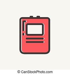 szív, defibrillator, sovány megtölt, ikon