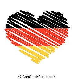 szív, egyenes, -, rajz, németország