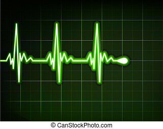 szív, elektrokardiogramm, graph., eps, beat., zöld, 8