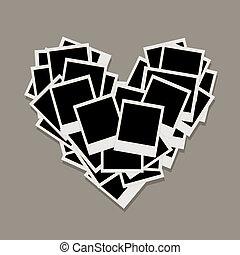 szív, elkészített, fénykép, fénykép keret, alakít, közzétesz, -e