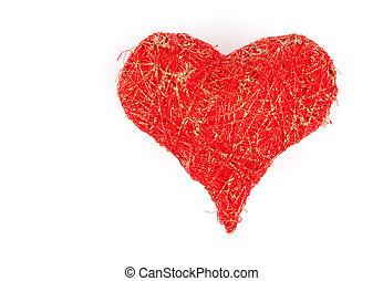 szív, elkészített, felett, háttér, fehér, befűz, piros