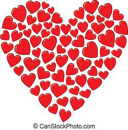 szív, elkészített, piros