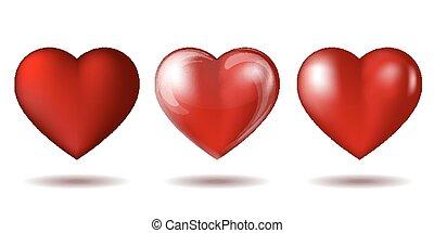 szív, elszigetelt, állhatatos, white., ikon, piros