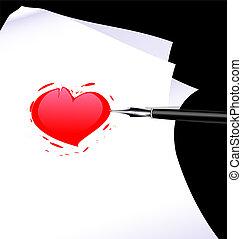 szív, elvont, író