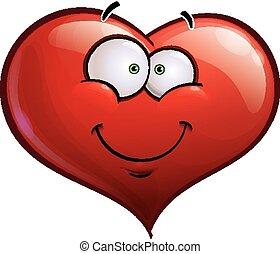 szív, emoticons, -, arc, mosolyog vidám