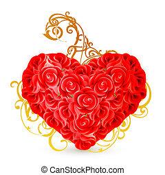 szív, eps10, agancsrózsák