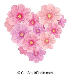 szív, eredet, nemes, vektor, háttér, szirom, white virág