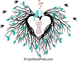 szív, esküvő, fa, noha, madarak
