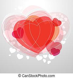 szív, fény, modern, szürke, háttér, piros