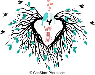 szív, fa, madarak, esküvő