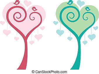 szív, fa, noha, madarak, vektor