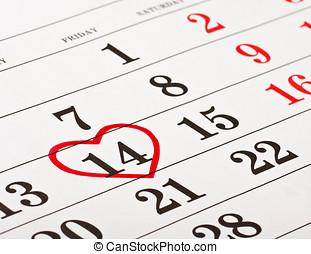 szív, február,  14,  valentine's, Körülfog, dátum, Nap, piros