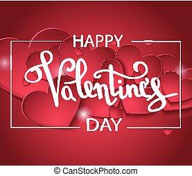 szív, február, kézírás, szeret, 14, felirat, szöveg, valentines, köszönés, háttér., vektor, kártya, motívum, gratuláció, fehér, betűtípus, nap, piros, design.