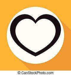 szív, fehér, hosszú, árnyék, karika, ikon