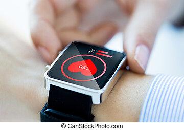 szív, feláll, smartwatch, kézbesít, becsuk, ikon