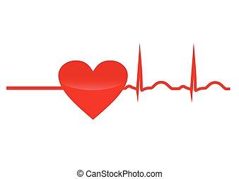 szív, felelevenítés, piros, kardiogram