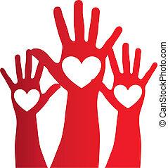 szív, felett, kéz