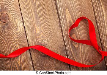 szív, felett, valentines, alakít, erdő, háttér, nap, szalag