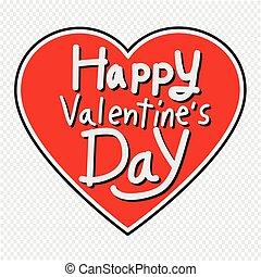 szív, felirat, valentine's, ábra, köszönés, vektor, nap, ...