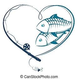 szív, fish, rúd, halászat, forma
