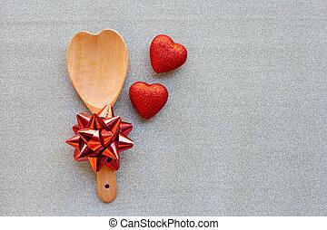 szív, fogalom, szeret, fából való, valentines, íj, alakzat, kanál, dolgozat, day., fénylik, ezüst, piros