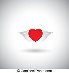 szív, fogalom, szeret, lips., woman's, -, alakít, vektor