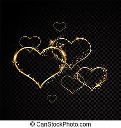 szív, frame., arany-, elszigetelt, ábra, kedves, szikra, vektor, fekete, háttér., áttetsző