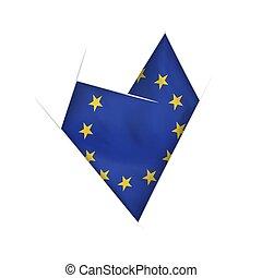 szív, görbült, szegényház lobogó, sketched, európai