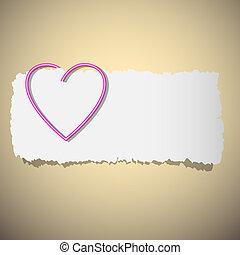 szív, gemkapocs, alakú