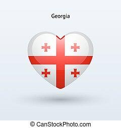 szív, grúzia, szeret, jelkép., lobogó, icon.