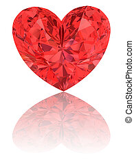 szív, gyémánt alakzat, sima, white piros