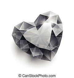 szív, gyémánt, backgrou, elszigetelt, alakít, árnyék, fényes, fehér