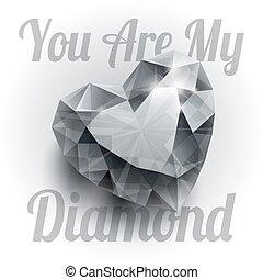 szív, gyémánt, elszigetelt, gyakorlatias, alakít, háttér, árnyék, fényes, fehér