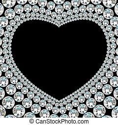 szív, gyémánt, keret, black háttér, fényes