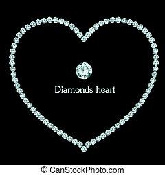szív, gyémánt, keret, black háttér, zenemű