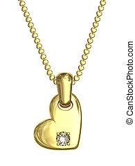 szív, gyémánt, lánc, arany, alakít, medál