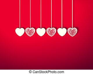 szív, helyett, valentines nap, háttér